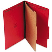 Classification Folders Legal Size 4 Section, 1 Divider, Ruby Red Pressboard, Top Tab, 10/Box from Universal