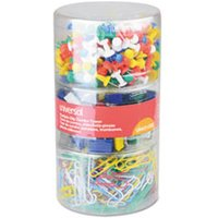 Combo Clip Pack, Assorted Binder Clips/Paper Clips/Push Pins from Universal
