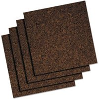 Cork Tile Panels, Dark Brown, 12 x 12, 4/Pack from Universal