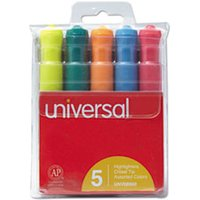 Desk Highlighter, Chisel Tip, Fluorescent Colors, 5/Set from Universal