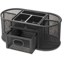 Metal Mesh Oval Desktop Organizer, 9 3/8 x 4 1/8 x 4 3/5, Black from Universal
