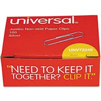 Nonskid Paper Clips, Wire, Jumbo, Silver, 1000/Pack from Universal