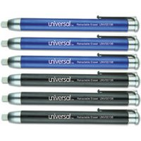 Pen-Style Retractable Eraser, Blue;Black, 6/Pack from Universal