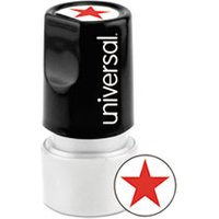 Round Message Stamp, STAR, Pre-Inked/Re-Inkable, Red from Universal