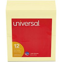 Self-Stick Note Pads, 3 x 5, Yellow, 100 Sheets, 12/Pack from Universal