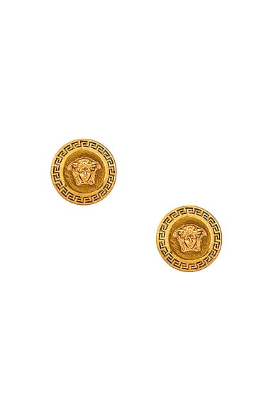 VERSACE Medusa Coin Stud Earrings in Metallic Gold from VERSACE