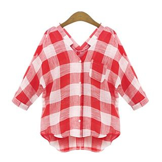 Plaid Elbow Sleeve Blouse from VIZZI