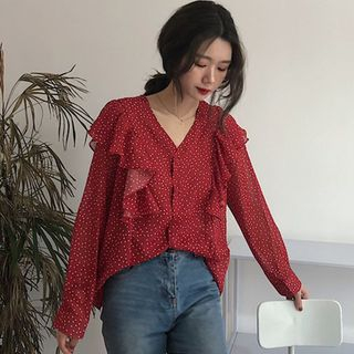 Ruffled Long-Sleeve Dotted Blouse from Velero