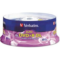 Dual-Layer DVD+R Discs, 8.5GB, 8x, Spindle, 30/PK, Silver from Verbatim