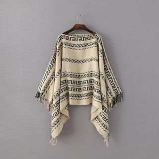 Fringed Patterned Knit Cape from Vilakak