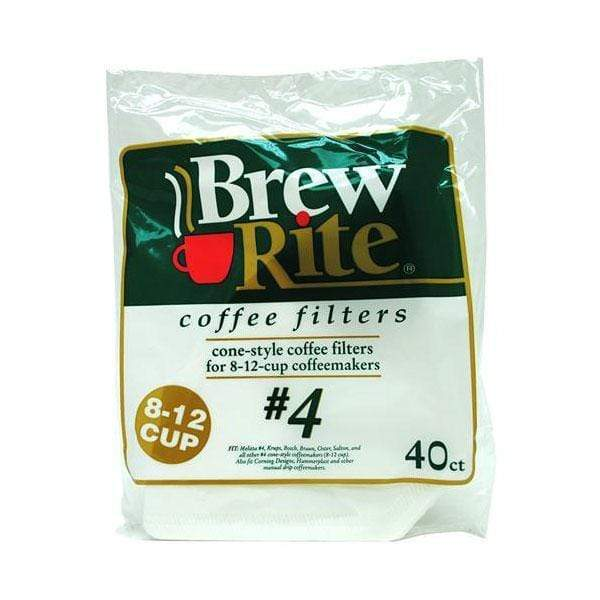 Brew Rite Coffee Filters - #4 Cone (Paper, No. 4 Size) - Box of 480 from Vistar