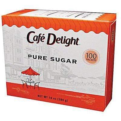 Cafe Delight Sugar Packets - 0.1oz Packets - Retail Box of 100, 100ct Box from Vistar
