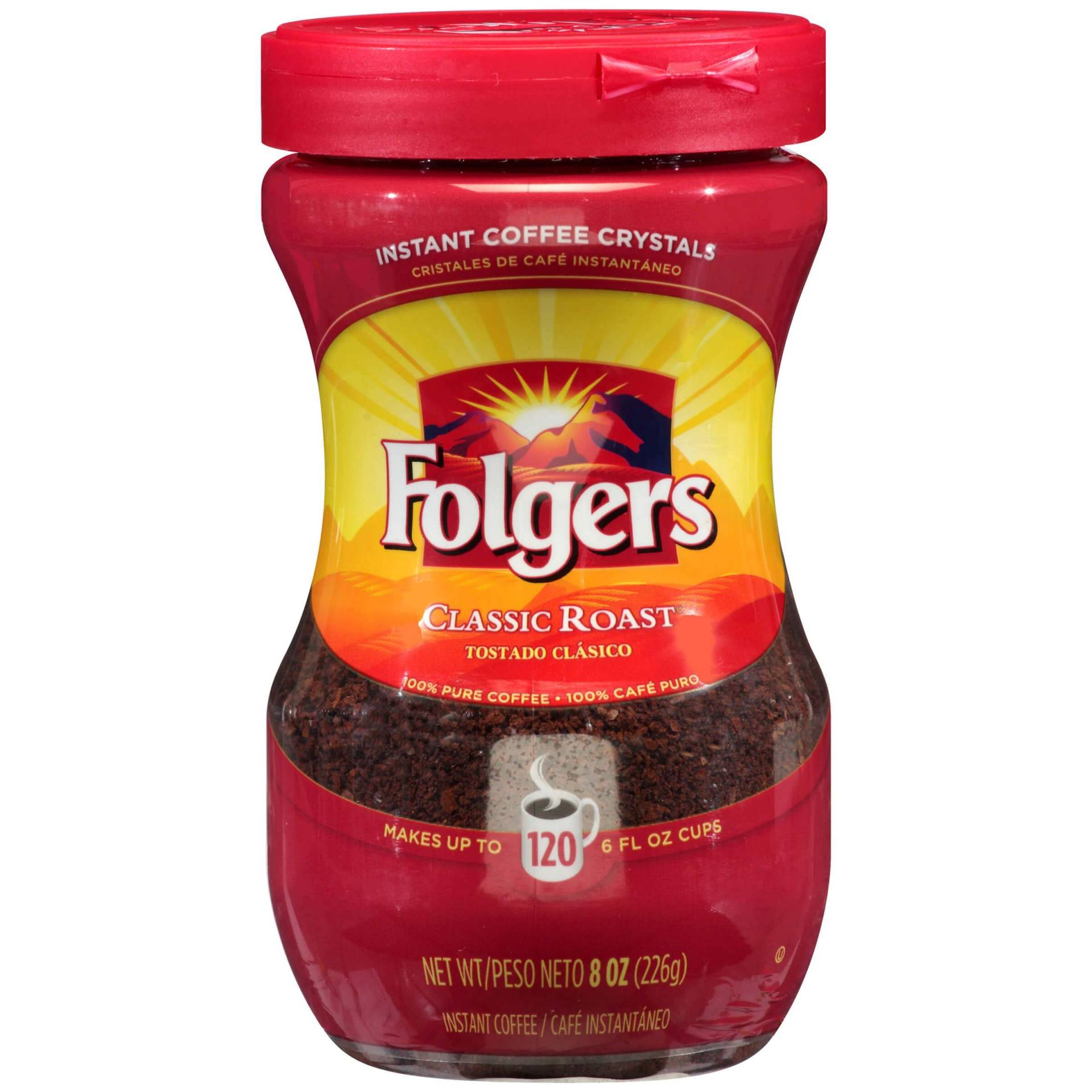 Folgers Classic Roast Instant Coffee Crystals, 8 Ounces, Case of 6 / Caffeinated from Vistar