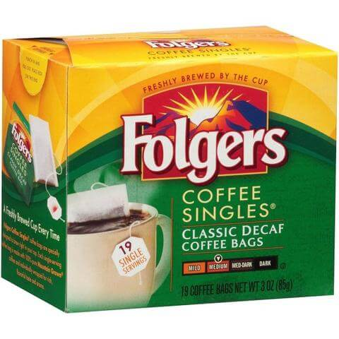 Folgers Coffee Singles - Single Cup Coffee Bags - DECAF, 19 Count Box from Vistar