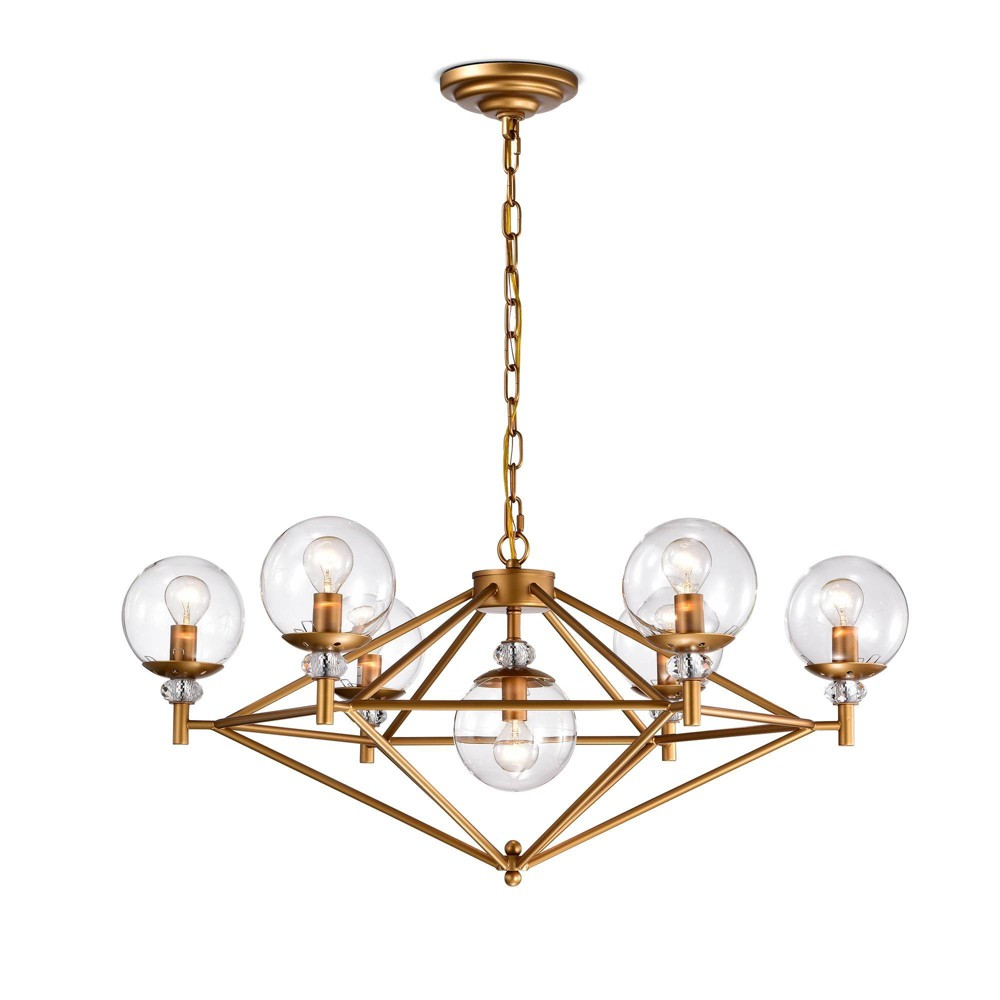 "30"" x 30"" x 48"" Paulita Ceiling Light with Glass Shade Gold - Warehouse Of Tiffany from Warehouse Of Tiffany"