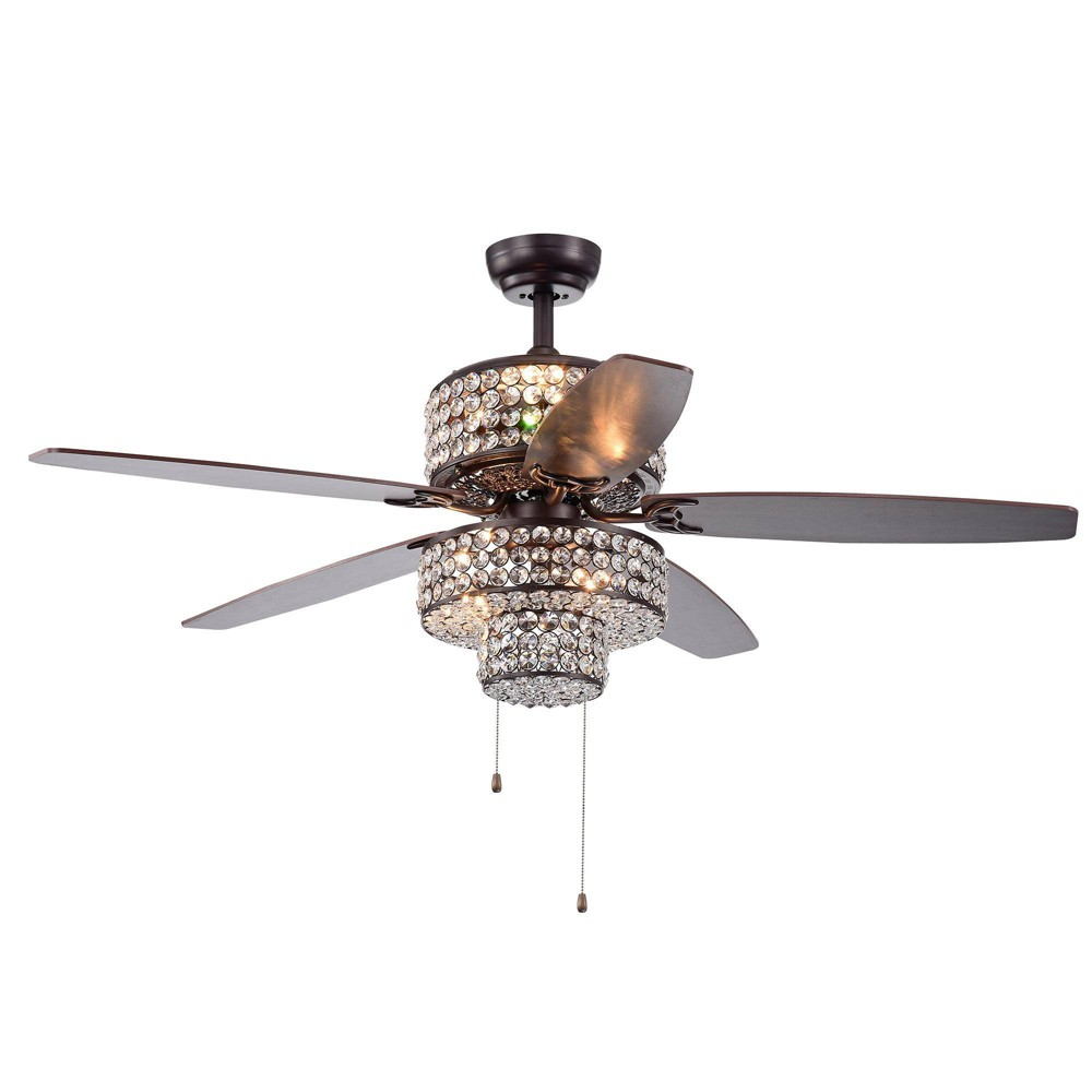 "52"" x 52"" x 26"" 5-Blade Tierna Rustic Lighted Ceiling Fan with Crystal Shade Brown - Warehouse Of Tiffany from Warehouse Of Tiffany"
