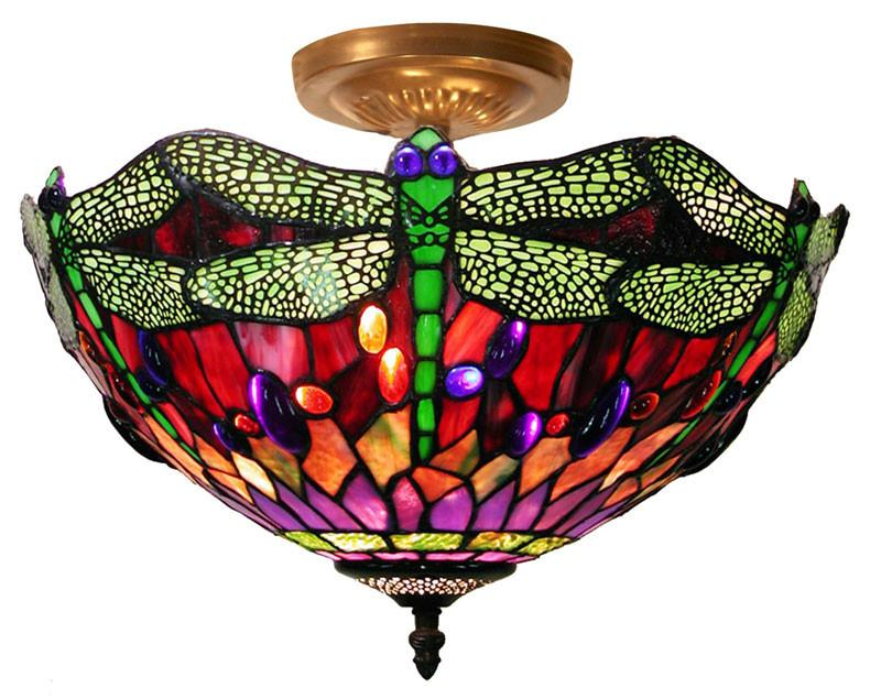 Tiffany Style Dragonfly Ceiling Lamp by Warehouse of Tiffany 305C SF104 from Warehouse of Tiffany