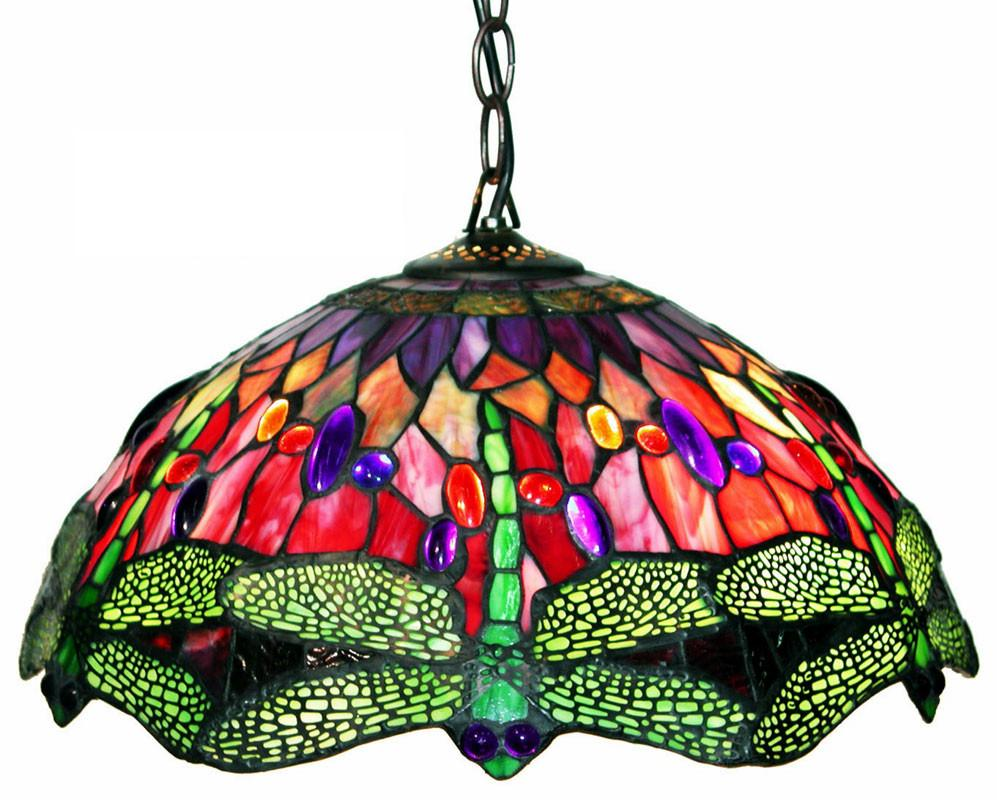 Tiffany Style Dragonfly Red Hanging Lamp by Warehouse of Tiffany 305C Hanging from Warehouse of Tiffany
