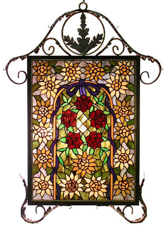 Tiffany Style Floral Iron Window Panel by Warehouse of Tiffany HF-215 with Leaf Frame from Warehouse of Tiffany