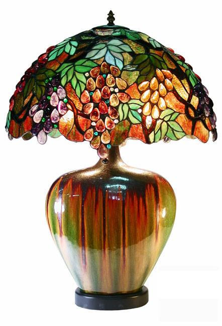 Tiffany Style Grape Lamp With Ceramic Base by Warehouse of Tiffany 2562 PB07 from Warehouse of Tiffany