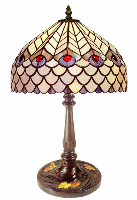 Tiffany Style Peacock Table Lamp by Warehouse of Tiffany GBO1 PS16 from Warehouse of Tiffany