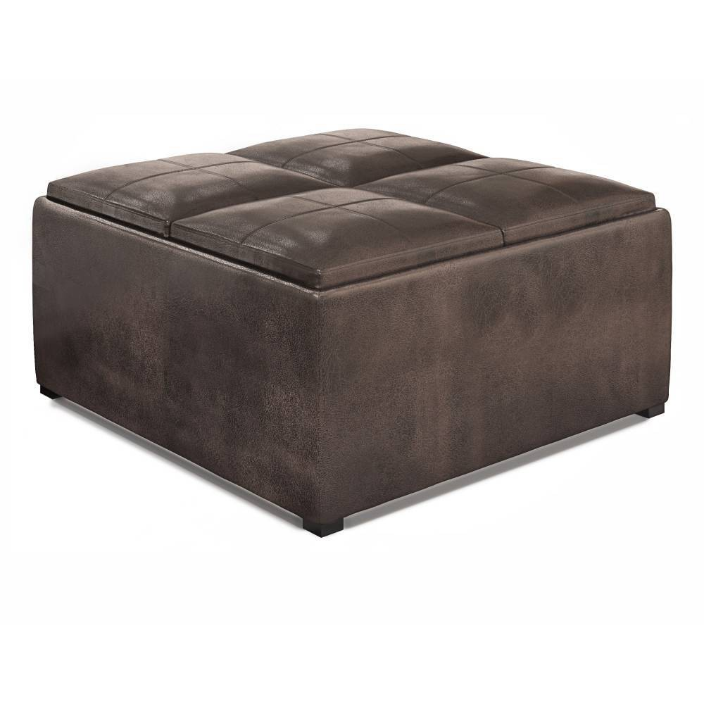 "35"" Franklin Square Coffee Table Storage Ottoman Dark Brown - WyndenHall from WyndenHall"