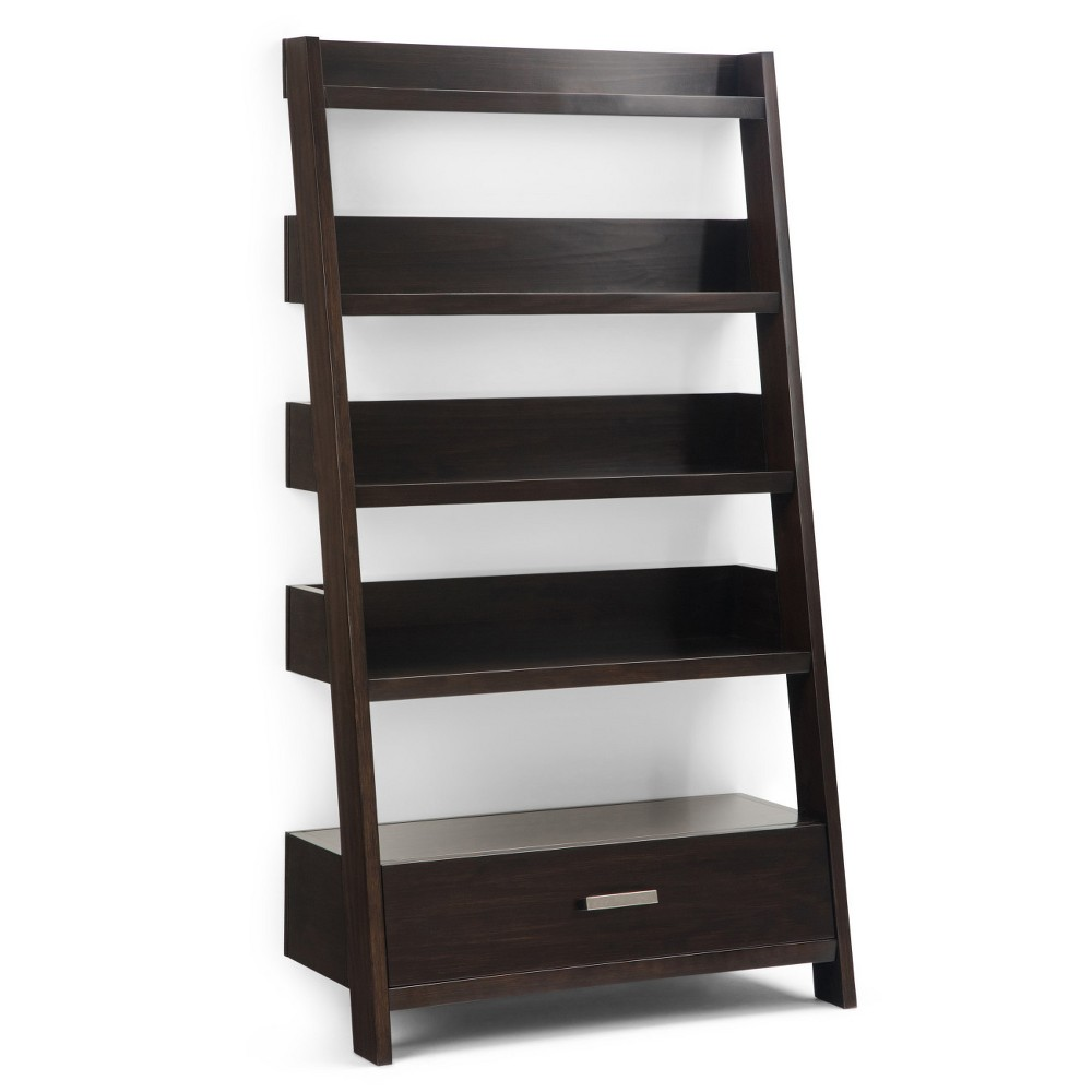"60"" Harriet Solid Wood Ladder Shelf Dark Chestnut Brown - WyndenHall from WyndenHall"