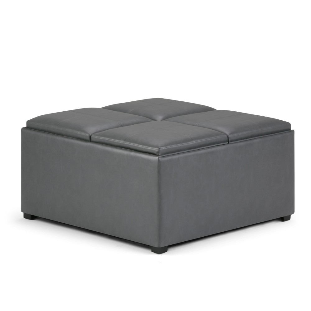 Franklin Square Coffee Table Storage Ottoman Stone Gray - WyndenHall from WyndenHall