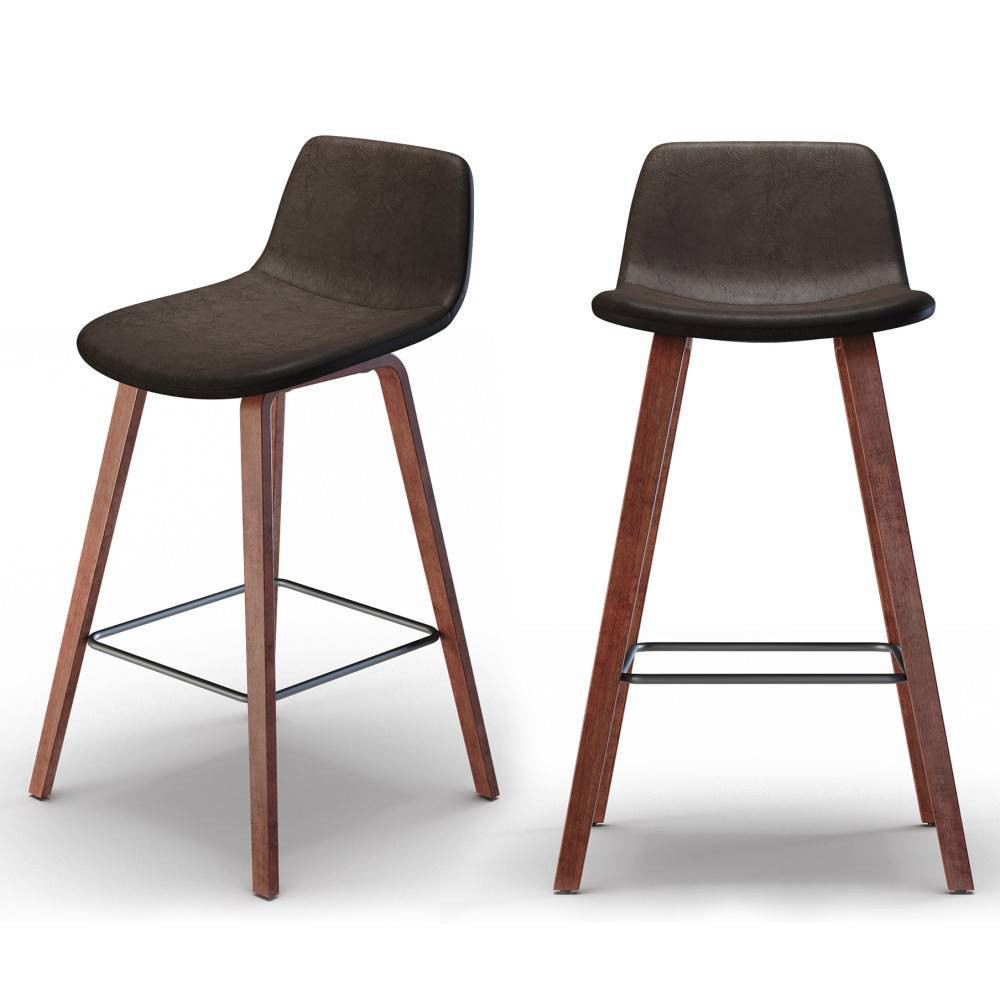 "Set of 2 26"" Maire Counter Height Barstools Distressed Brown - WyndenHall from WyndenHall"
