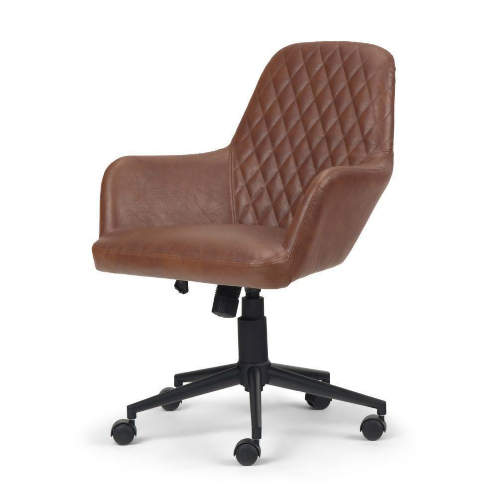 Sims Swivel Office Chair Distressed Cognac - WyndenHall from WyndenHall