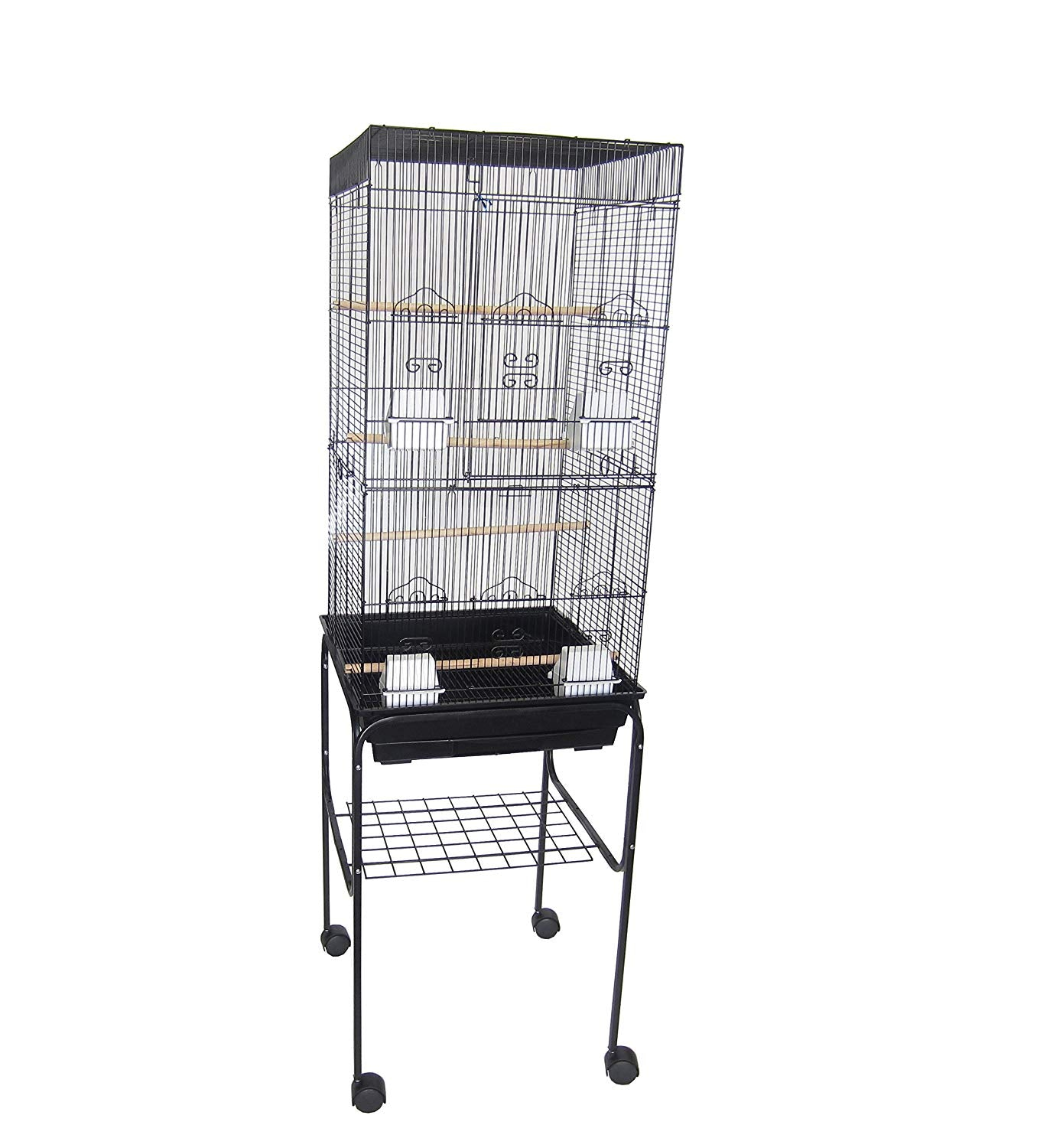 "YML 6824 3/8"" Bar Spacing Tall Flat Top Bird Cage with Stand from YML Group"