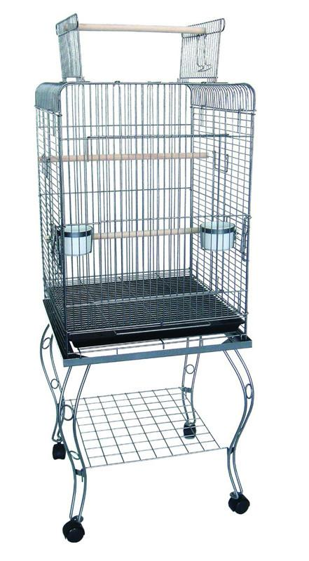 "YML Group 0224AS 24"" Open top Parrot Cage With Stand in Antique Silver from YML Group"