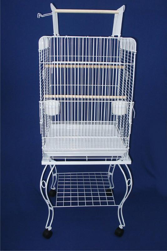 "YML Group 0224WHT 24"" Open top Parrot Cage With Stand in White from YML Group"