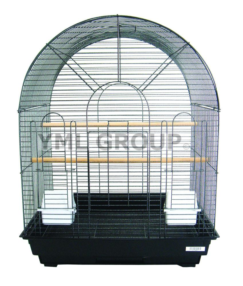 "YML Group 1934BLK 1/2"" Bar Spacing Round Top Small Bird Cage - 20""x16"" In Black from YML Group"