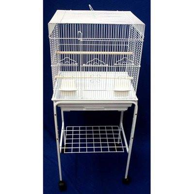 "YML Group 5824_4814WHT 5824 3/8"" Bar Spacing SquareTop Small Bird Cage With Stand - 18""x14"" In White from YML Group"