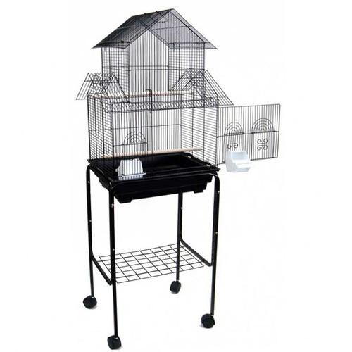 "YML Group 5844_4814BLK 5844 3/8"" Bar Spacing Pagoda Small Bird Cage With Stand - 18""x14"" In Black from YML Group"