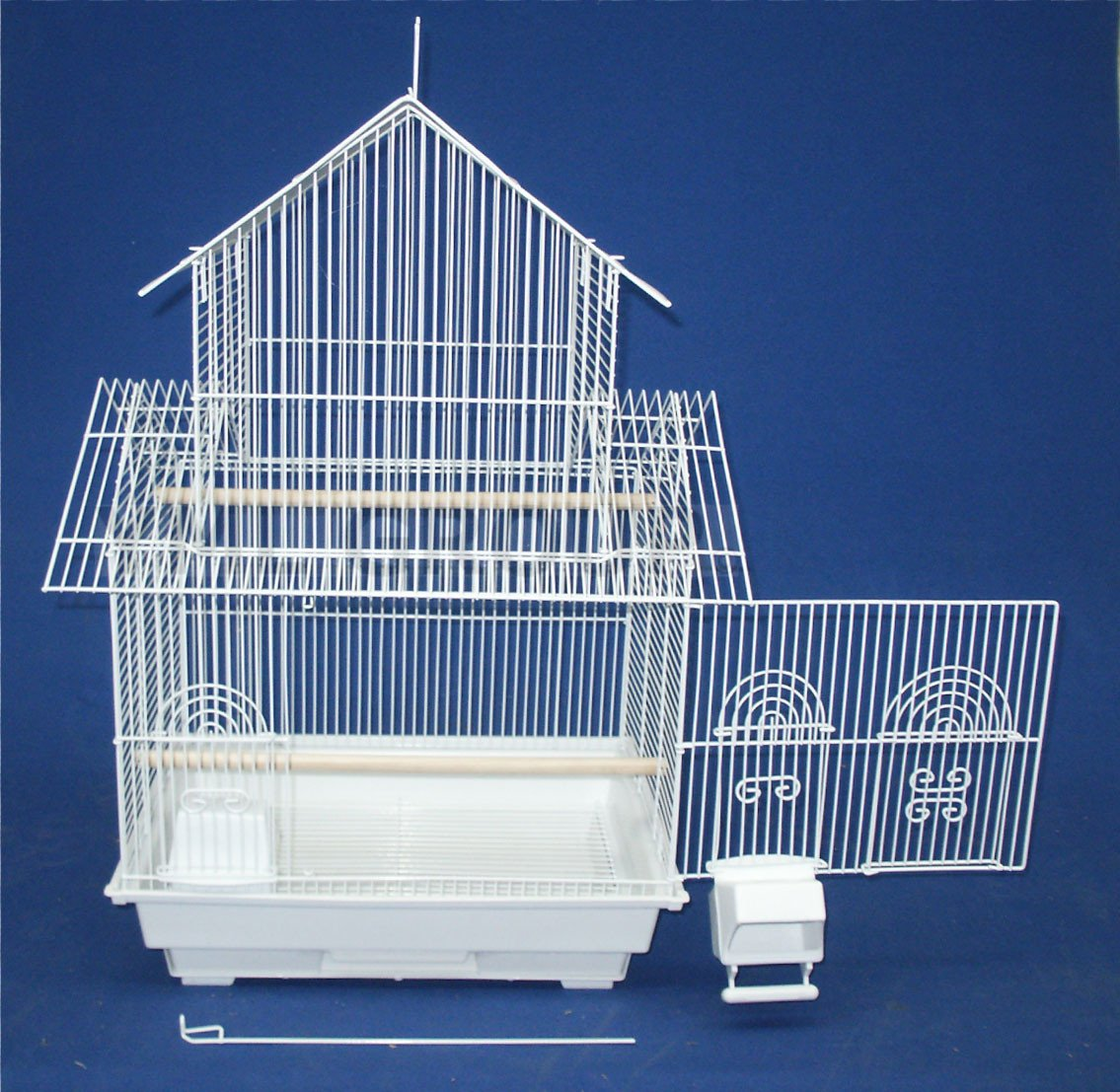 "YML Group 5844WHT 5844 3/8"" Bar Spacing Pagoda Small Bird Cage - 18""x14"" In White from YML Group"