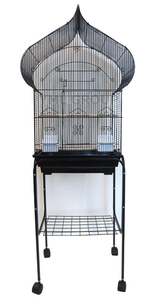 "YML Group 5864_4814BLK 5864 3/8"" Bar Spacing Taj Mahal Bird Cage With Stand - 18""x14"" In Black from YML Group"