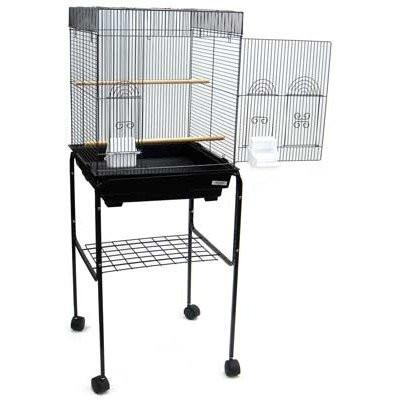 "YML Group 5924_4814BLK 5924 3/8"" Bar Spacing Flat Top Small Bird Cage With Stand - 18""x18"" In Black from YML Group"