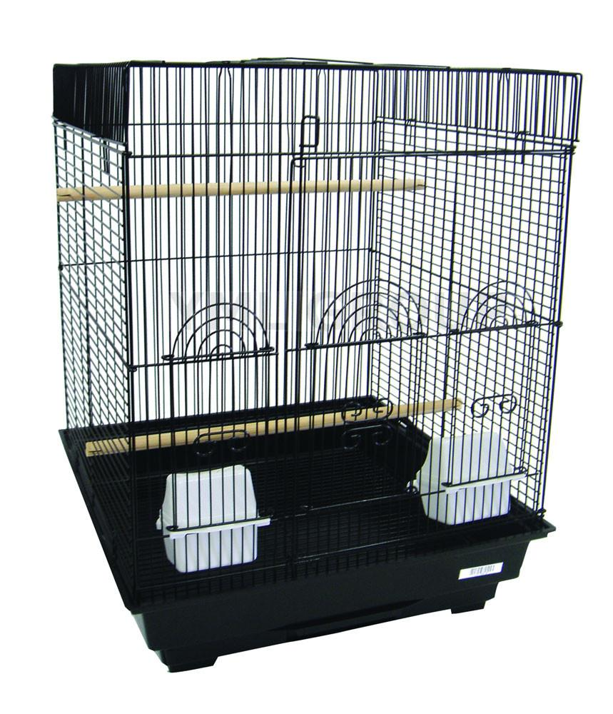 "YML Group 5924BLK 5924 3/8"" Bar Spacing Flat Top Small Bird Cage  - 18""x18"" In Black from YML Group"
