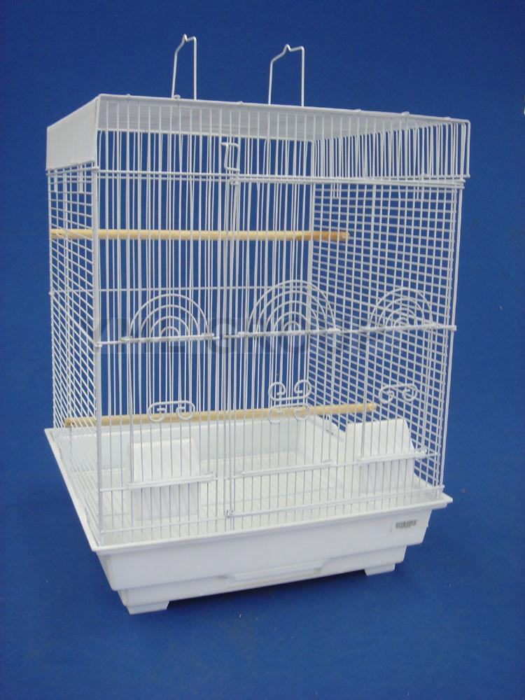 "YML Group 5924WHT 3/8"" Bar Spacing Flat Top Small Bird Cage  - 18""x18"" In White from YML Group"