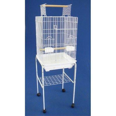 "YML Group 5984_4814WHT 3/4"" Bar Spacing Open Top Small Parrot Cage With Stand - 18""x18x56"" In White from YML Group"