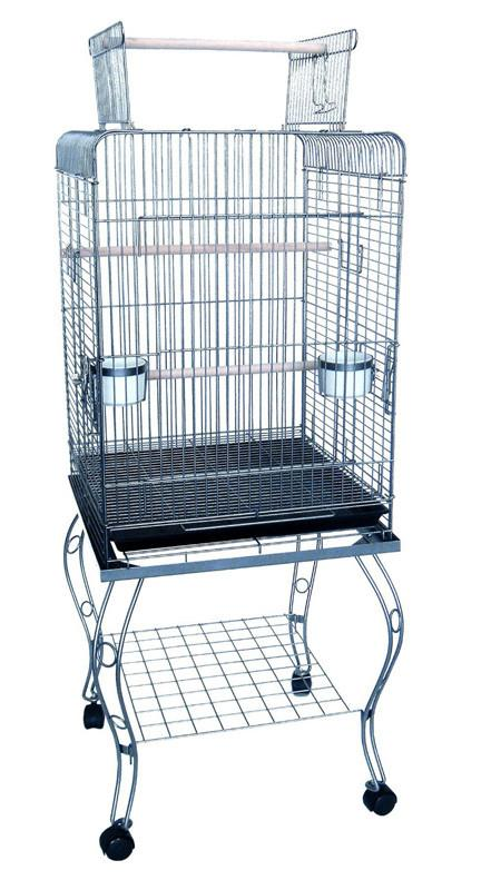 "YML Group 600HAS 20"" Open Top Parrot Cage With Stand In Antique Silver from YML Group"