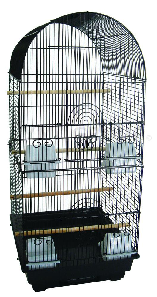 "YML Group 6604BLK 3/8"" Bar Spacing Tall Round 4 Perchs Bird Cage, Black from YML Group"