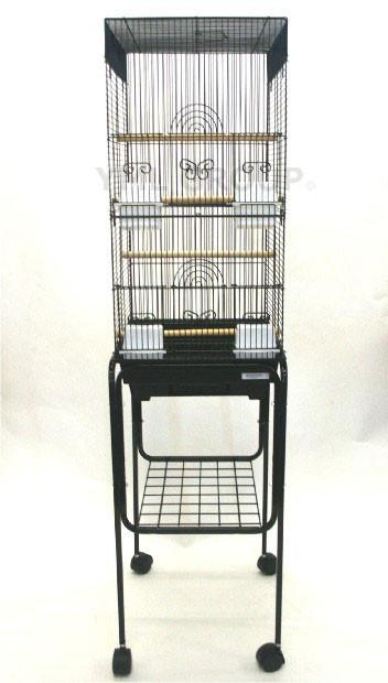 "YML Group 6624_4614BLK 3/8"" Bar Spacing Tall Square 4 Perchs Bird Cage With Stand, Black from YML Group"