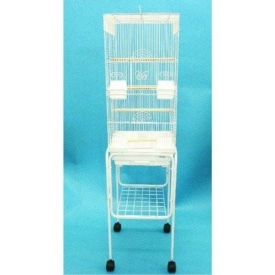 "YML Group 6624_4614WHT 3/8"" Bar Spacing Tall Square 4 Perchs Bird Cage With Stand, White from YML Group"