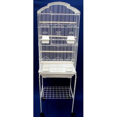 "YML Group 6804_4814WHT 6804 3/8"" Bar Spacing Tall Shall Top Small Bird Cage With Stand - 18""x14"" In White from YML Group"