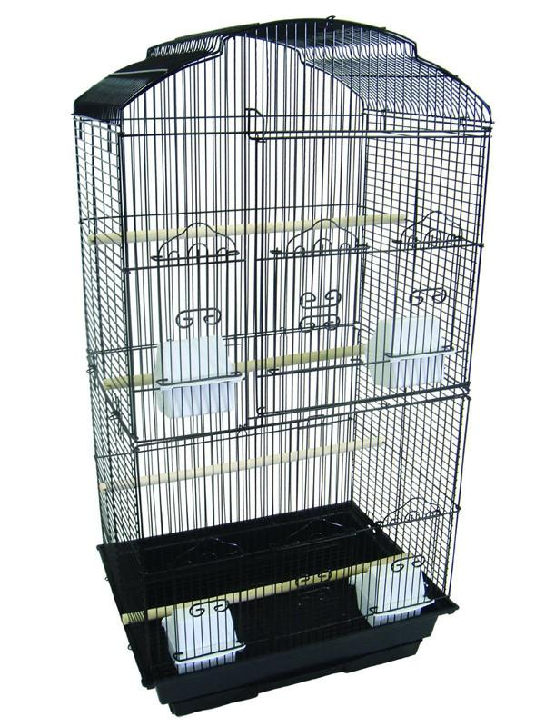 "YML Group 6804BLK 6804 3/8"" Bar Spacing Tall Shall Top Small Bird Cage - 18""x14"" In Black from YML Group"