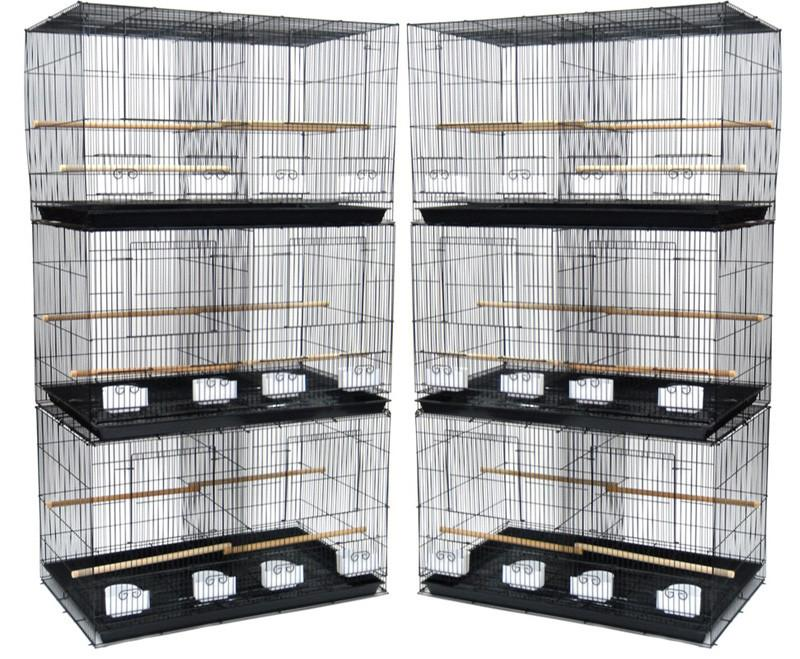 YML Group 6x2424BLK and 1x 4134BLK Lot of 6 Small Breeding Cages with One 4 Tie Stand - Black from YML Group
