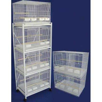 YML Group 6x2434WHT and 1x 4134WHT Lot of 6 Small Breeding Cages with Divider and One 4 Tie Stand - White from YML Group